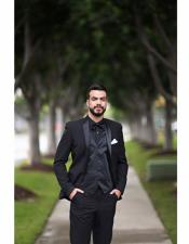 Lapel Black Suit With Black Shirt & Bowtie