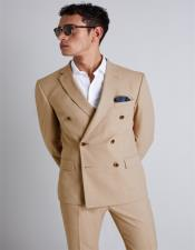 Camel~BronzeColorDoubleBreastedWoolSuit