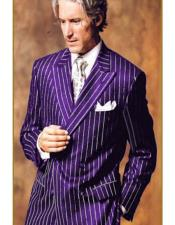 Mens Double Breasted Chalk Pinstripe Striped Gangster Suit Purple
