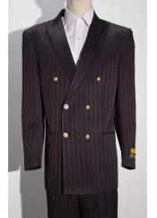 Black ~ Red Mens Pinstripe Double