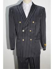 Black ~ White Mens Pinstripe Double