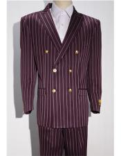 Burgundy ~ White Mens Pinstripe Double
