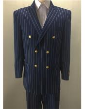 Navy ~ Gold Mens Pinstripe Double