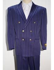~ White Mens Pinstripe Double Breasted Blazer