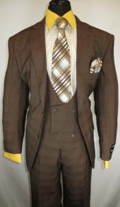 Suit Single Breasted Notch Lapel Brown ~ Plaid Design