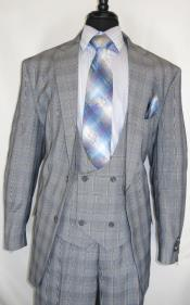 Suit Single Breasted Notch Lapel Grey ~ Plaid Design