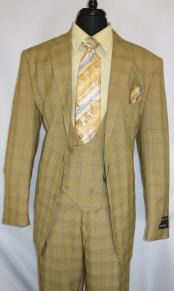 Suit Single Breasted Notch Lapel Tan ~ Plaid Design