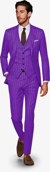 1920s 1940s Mens Gatsby Vintage Purple and White Pinstripe