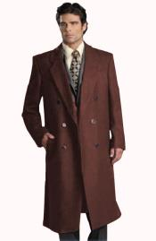 Six Button Dark Brown Notch Lapel Fully Lined Long