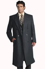 Six Button Dark Grey Notch Lapel Fully Lined Long