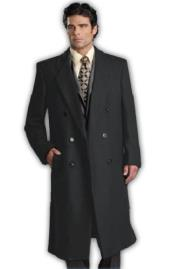 Six Button Charcoal Grey Notch Lapel Fully Lined Long