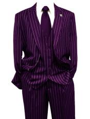 Dark Purple Gangster Bold PinStripe Mars Vested 3 Piece