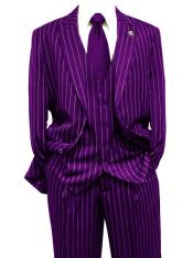Purple Gangster Bold PinStripe Mars Vested 3 Piece Fashion