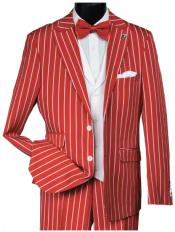 Red Gangster Bold PinStripe Mars Vested 3 Piece Fashion