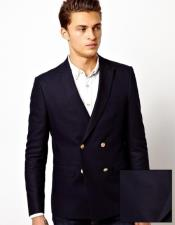 Four Button Solid Navy Peak Lapel Double Breasted Wool