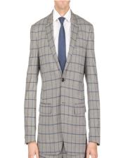 Plaid - Checkered Suit Single Breasted Window Pane Slim