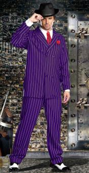 Breasted Bold Gangster Purple and White Stripe Suit