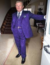 Dark Purple and White Pinstripe Gatsby Mobster Vintage Suit