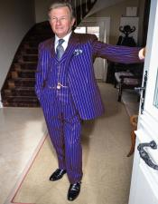 Purple and White Pinstripe One Chest Pocket Gatsby Mobster