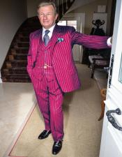 Mens Burgundy and White Pinstripe Gatsby