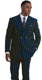 Mens Navy with Gold Pinstripe Double