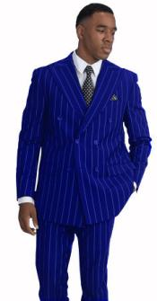 Mens Royal and White Stripe Double