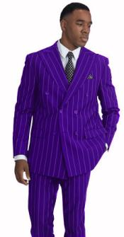 Mens Purple and White Pinstripe Double