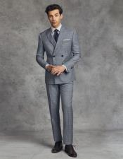 Solid Black Four Button Wool Suit