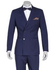 Navy Blue Double Breasted Slim Fit Wool Suit