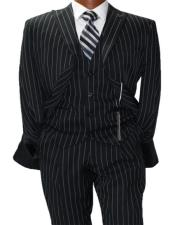 Adams Mars Black w White Pinstripe Vested Classic Fit