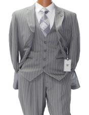 Adams Mars Gray w White Pinstripe Vested Classic Fit