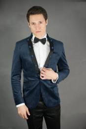 Peak Lapel Slim Fit Navy Velvet Jacket