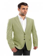 Single Breasted Mint Linen Sports Coat Peak Lapel