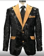 Black And Gold Lapel Sequin Fabric