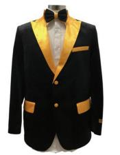BlackAndGoldVelvetFabricTuxedoDinnerJacketFashion