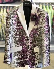 White And Purple Blazer Sequin Fancy