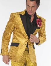 GoldTuxedoVested3PiecedSuit