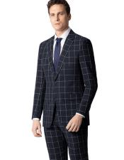 Black Window Pane Plaid Wool Suit