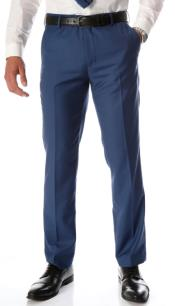 Indigo Slim Fit Flat-Front Dress Pants