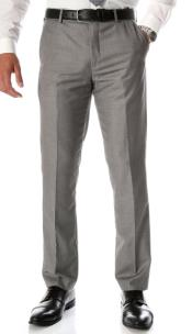 Grey Slim Fit Flat-Front Dress Pants