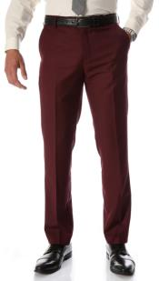 Burgundy Slim Fit Flat-Front Dress Pants