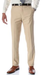 Tan Slim Fit Flat-Front Dress Pants