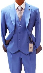 Adams Vested Classic Fit Blue Suit