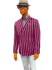 Double Breasted Bold Stripe With Brass Buttons  Blazer