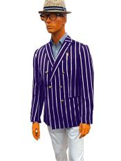 Double Breasted With Brass Buttons Bold Stripe Blazer Sport