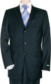 Suit Separates Wool Fabric Dark Navy Blue Pinstripe By