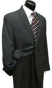 Suit Separates Wool Fabric Charcoal Gray Stripe Suit By