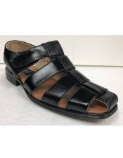 Style#JA17483 Mens Dress Sandals Black Texture