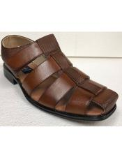 Style#JA17484 Mens Dress Sandals Cognac Brown
