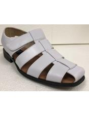 Style#JA17485 Mens Dress Sandals White Closed